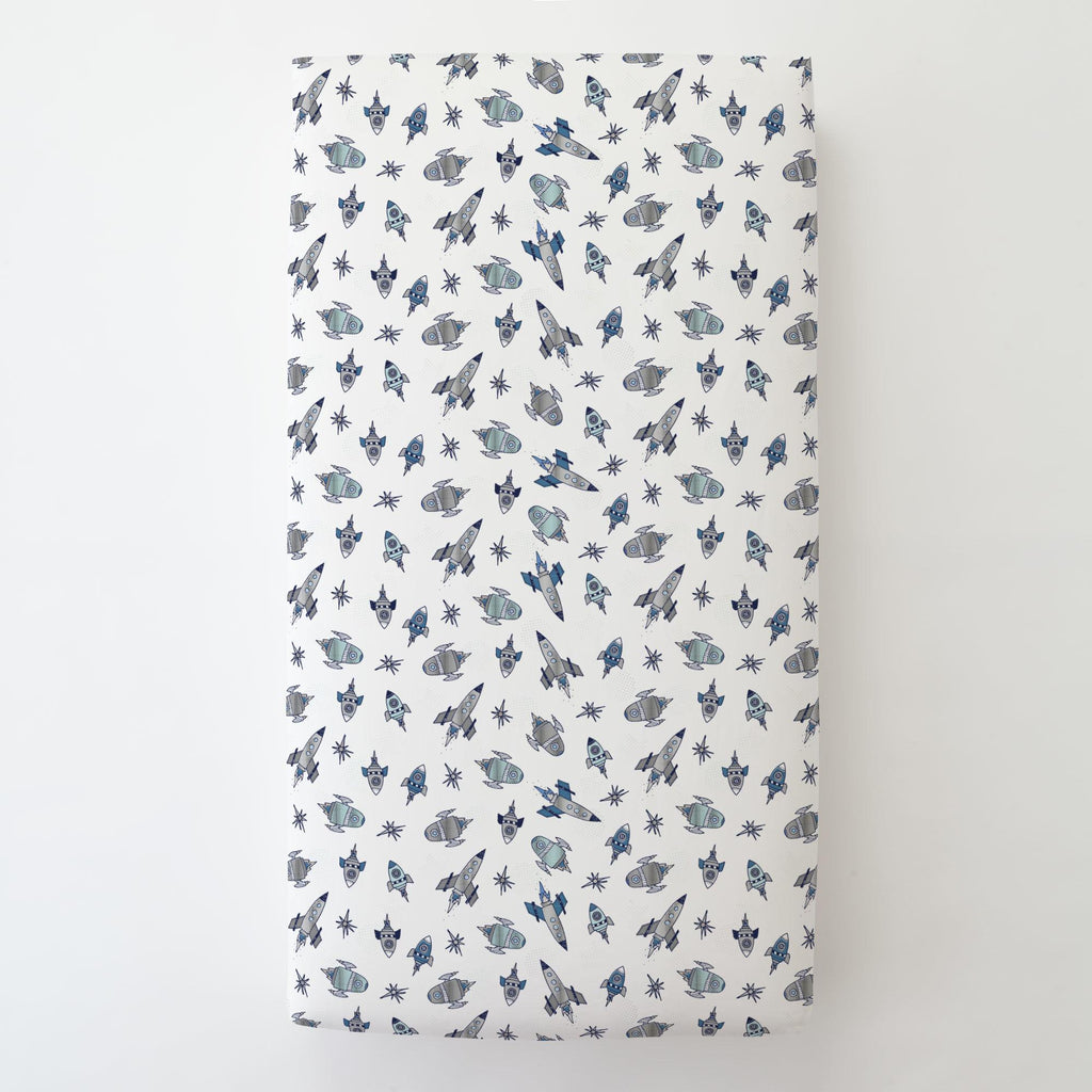 Product image for Navy Retro Rockets Toddler Sheet Bottom Fitted
