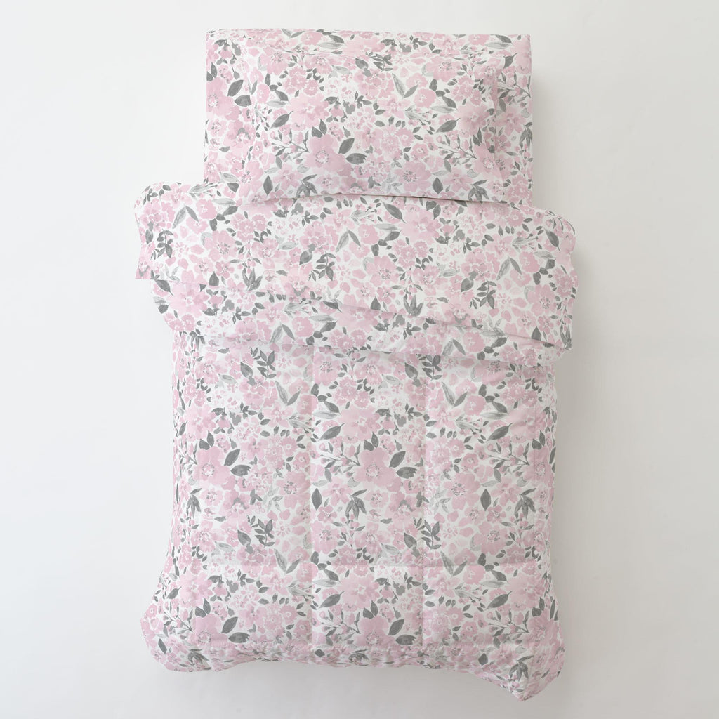 Product image for Pink and Gray Prairie Floral Toddler Comforter