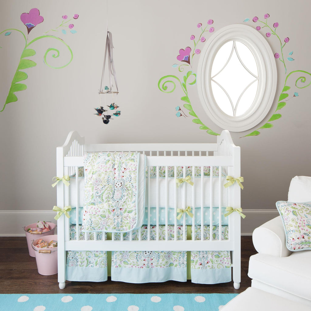 Product image for Love Bird Damask Crib Comforter with Piping