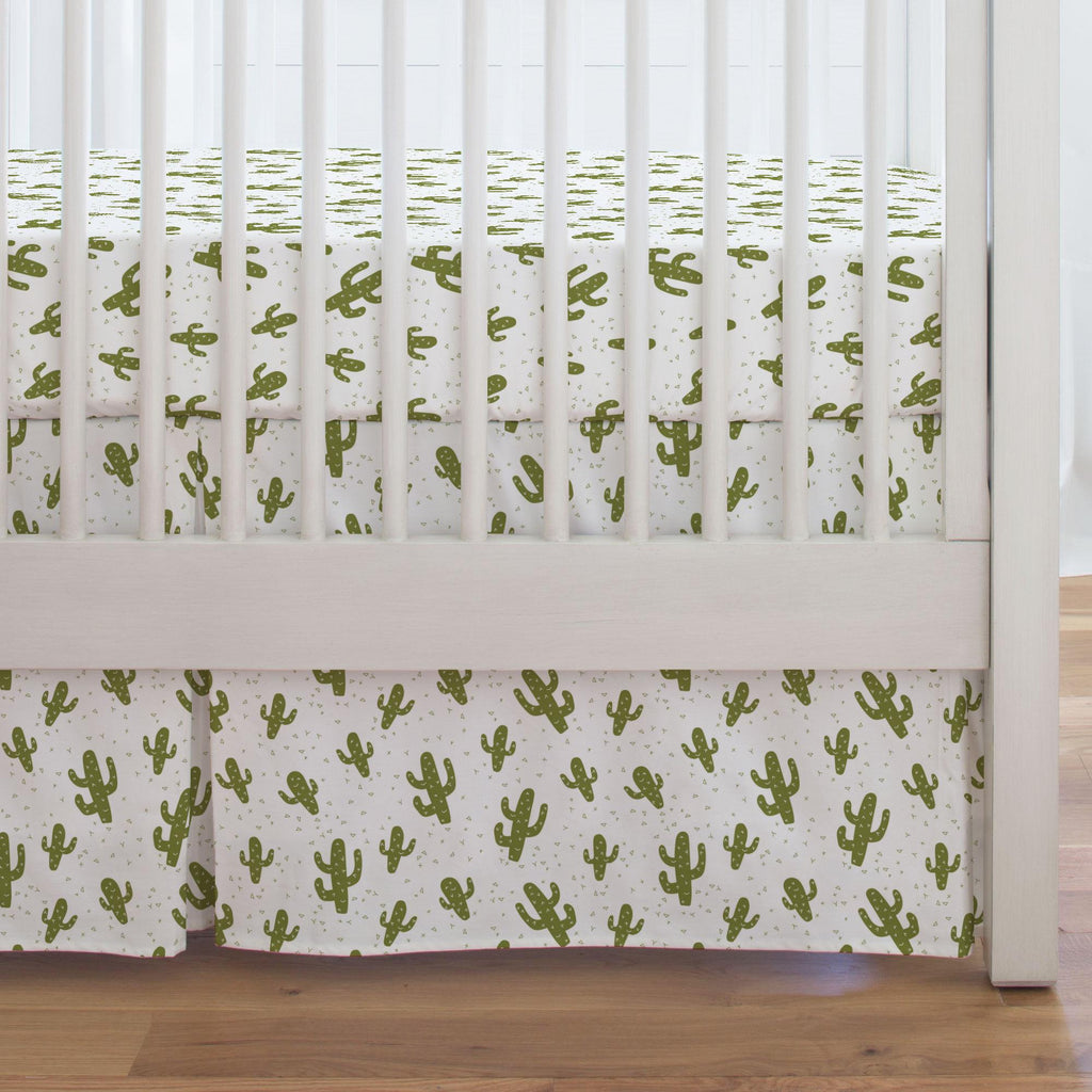 Product image for Sage Cactus Crib Skirt Single-Pleat