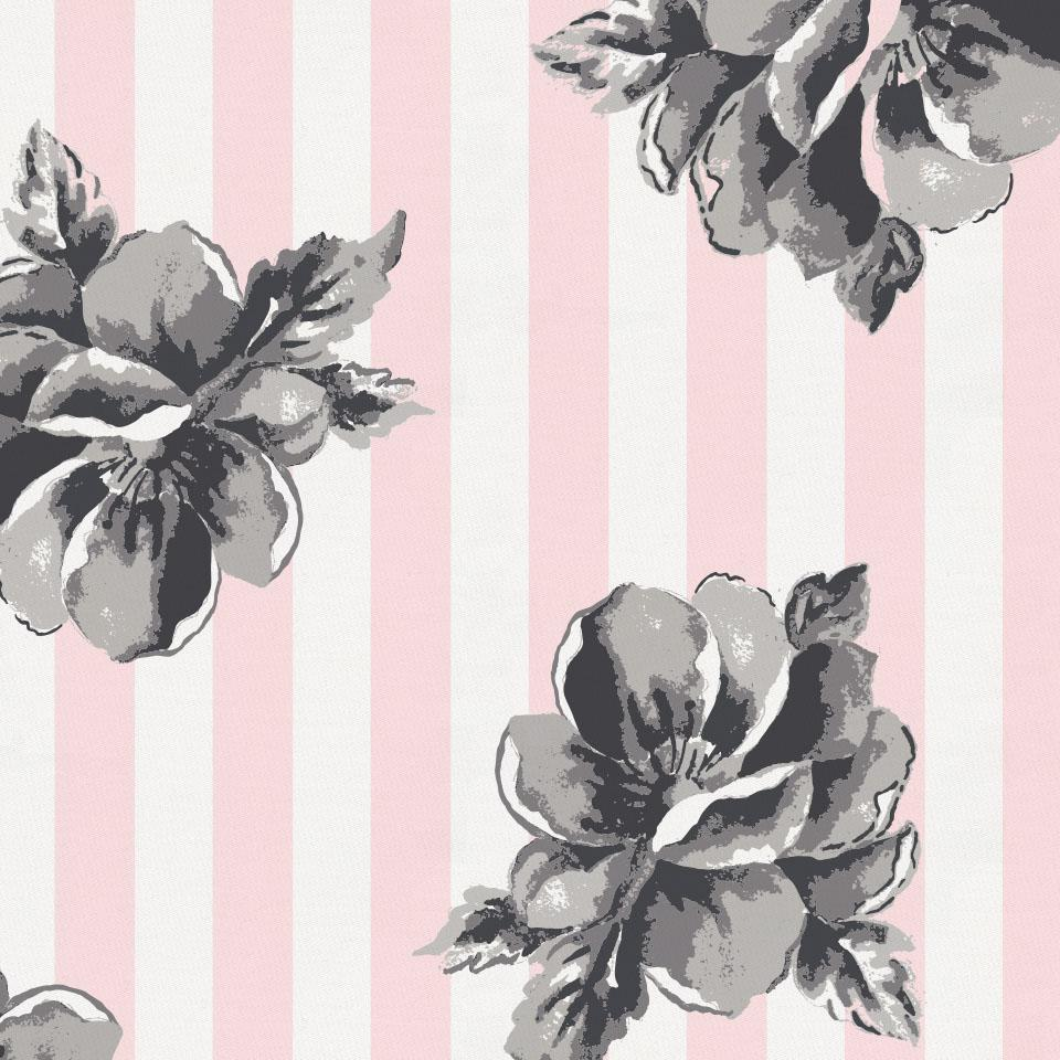 Product image for Pink and Gray Floral Stripe Crib Comforter