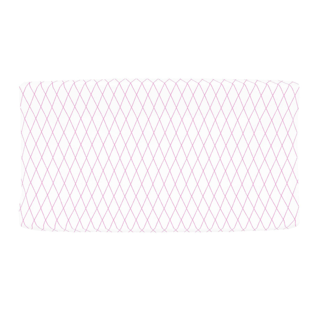 Product image for Hot Pink Princess Lattice Changing Pad Cover