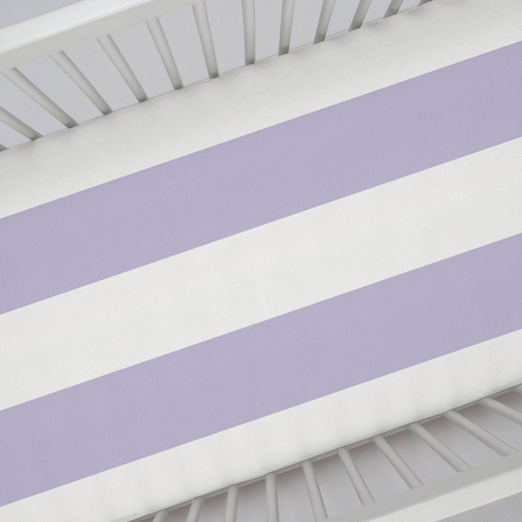 Product image for Lilac Horizontal Stripe Crib Sheet
