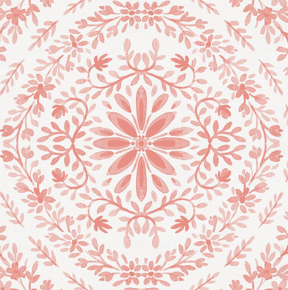 Product image for Light Coral Floral Damask Drape Panel
