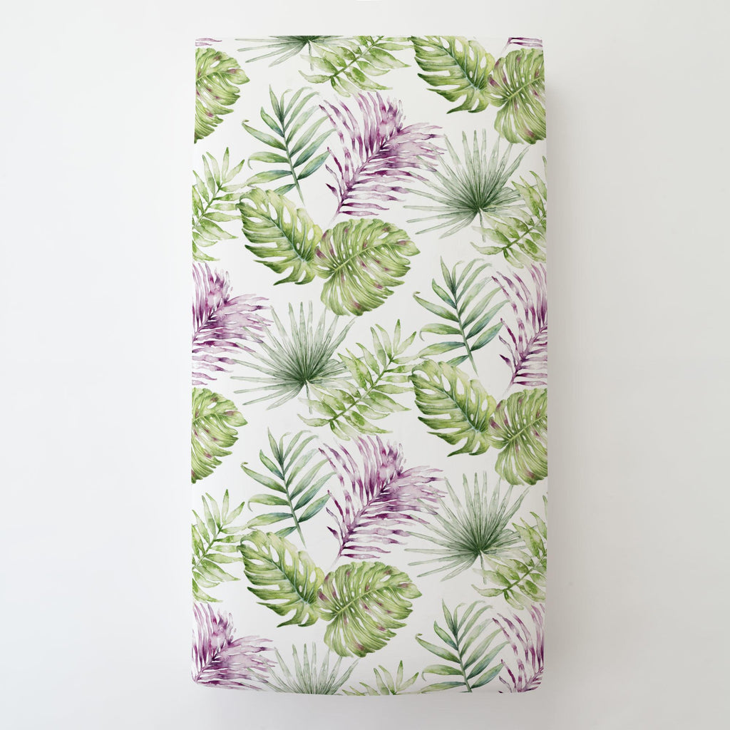 Product image for Purple Painted Tropical Toddler Sheet Bottom Fitted