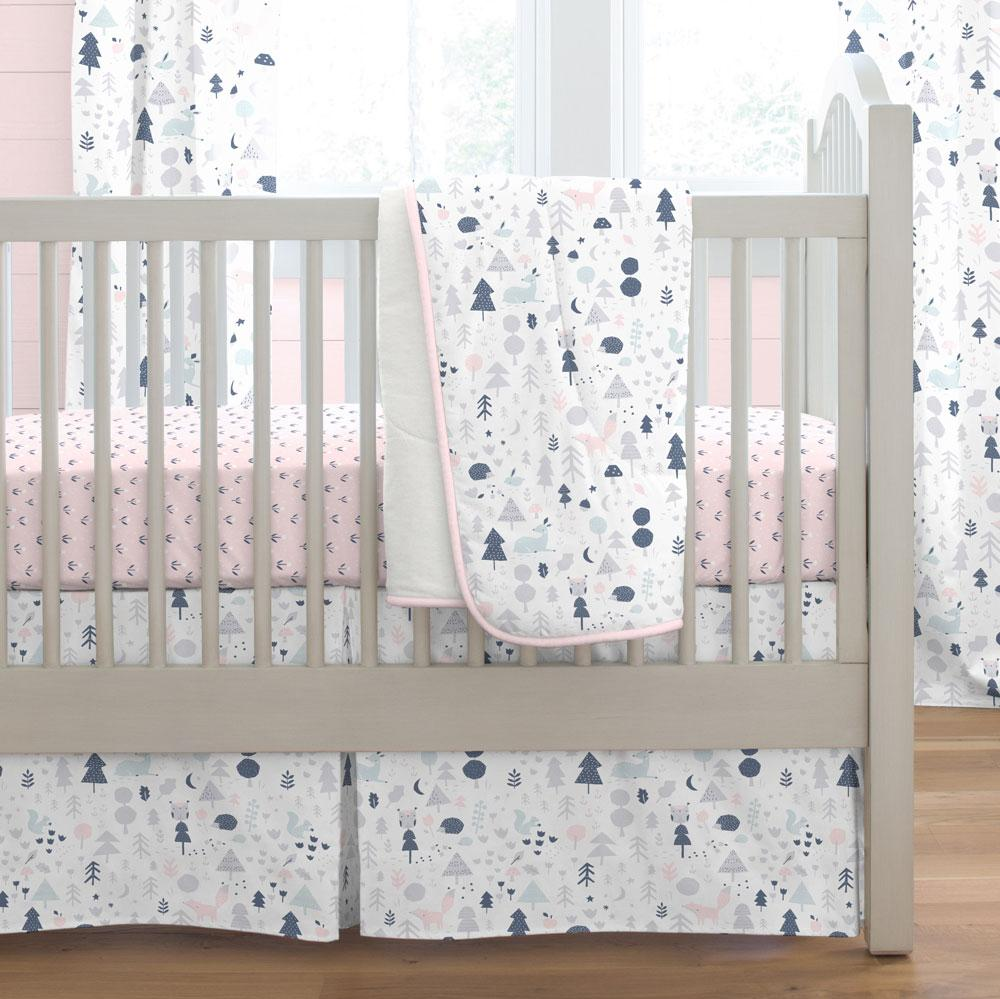 Product image for Gray and Pink Baby Woodland Crib Comforter with Piping