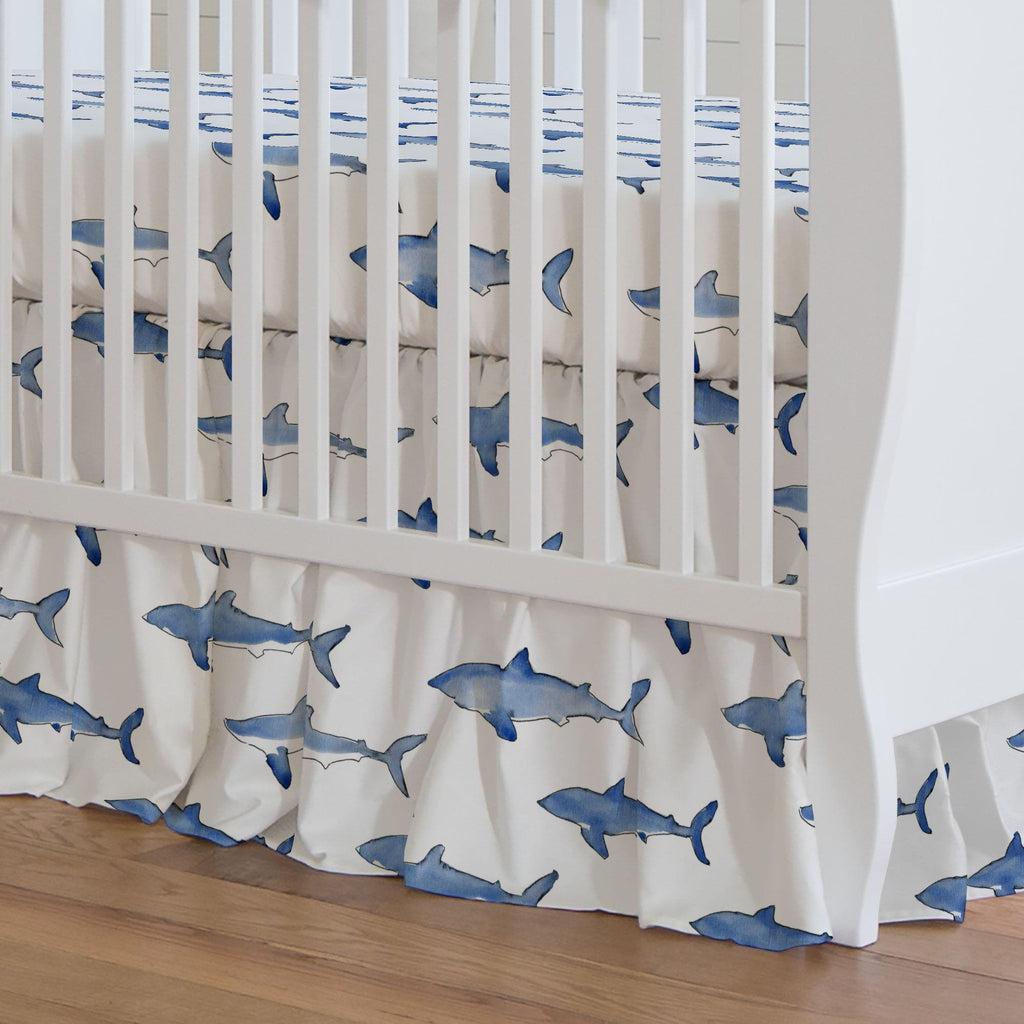 Product image for Blue Sharks Crib Skirt Gathered