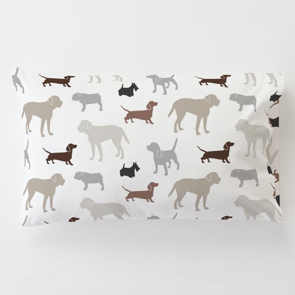 Product image for Brown and Gray Dogs Toddler Pillow Case