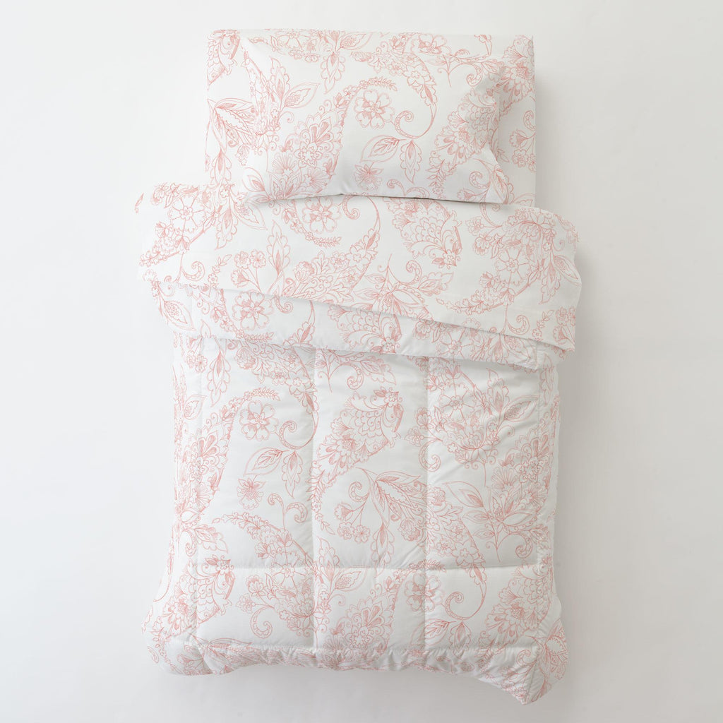 Product image for Light Coral Sketchbook Floral Toddler Pillow Case with Pillow Insert