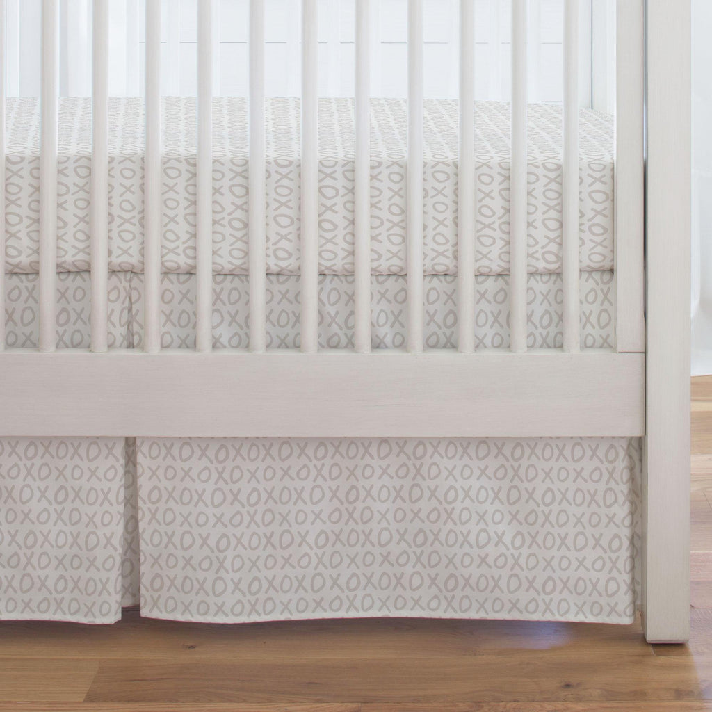 Product image for Taupe XO Crib Skirt Single-Pleat