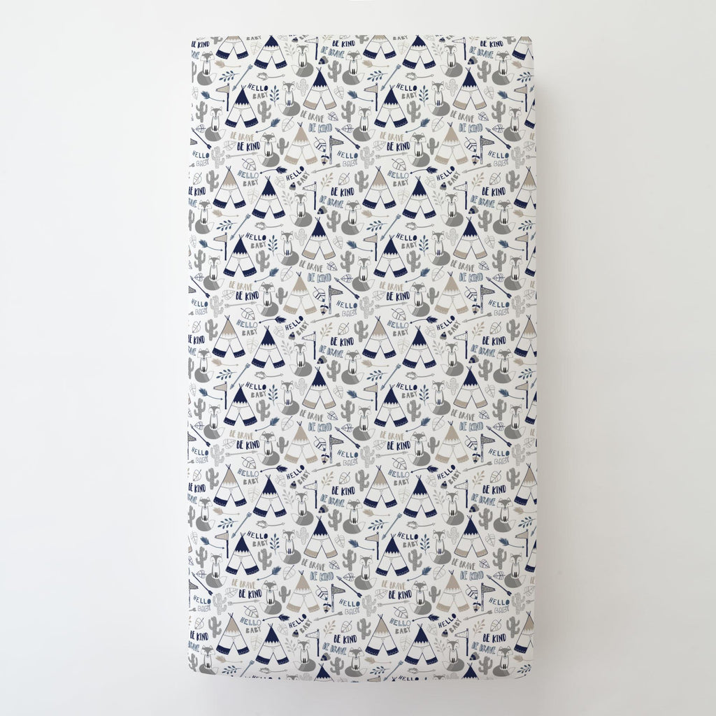 Product image for Navy Brave Fox Toddler Sheet Bottom Fitted
