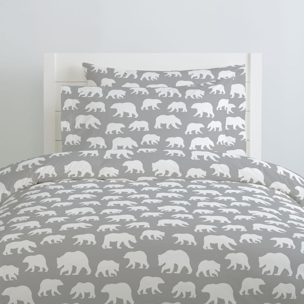 Product image for Silver Gray and White Bears Pillow Case