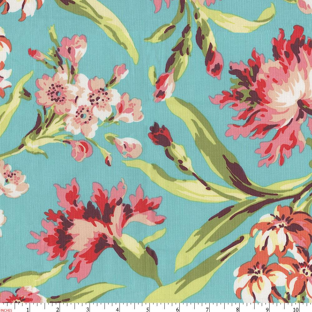 Product image for Coral and Teal Floral Fabric