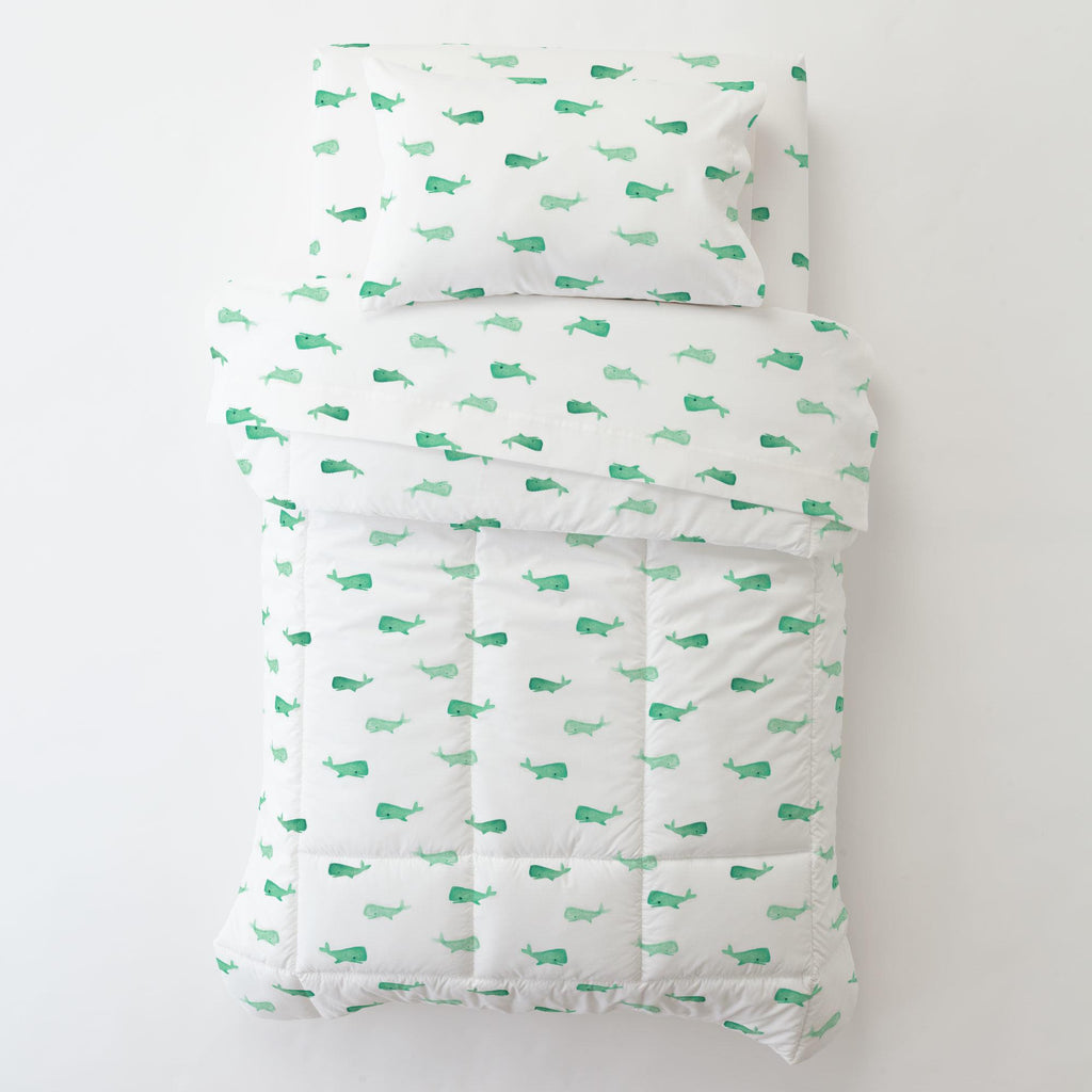 Product image for Mint Whale of a Tale Toddler Pillow Case with Pillow Insert