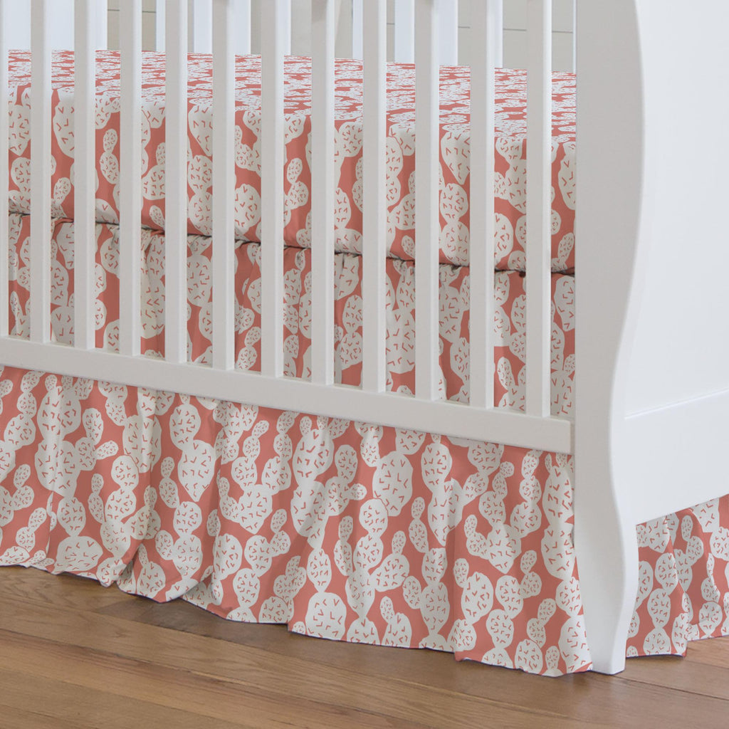 Product image for Light Coral Prickly Pear Crib Skirt Gathered
