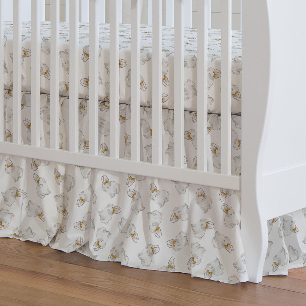 Product image for Painted Bunnies Crib Skirt Gathered