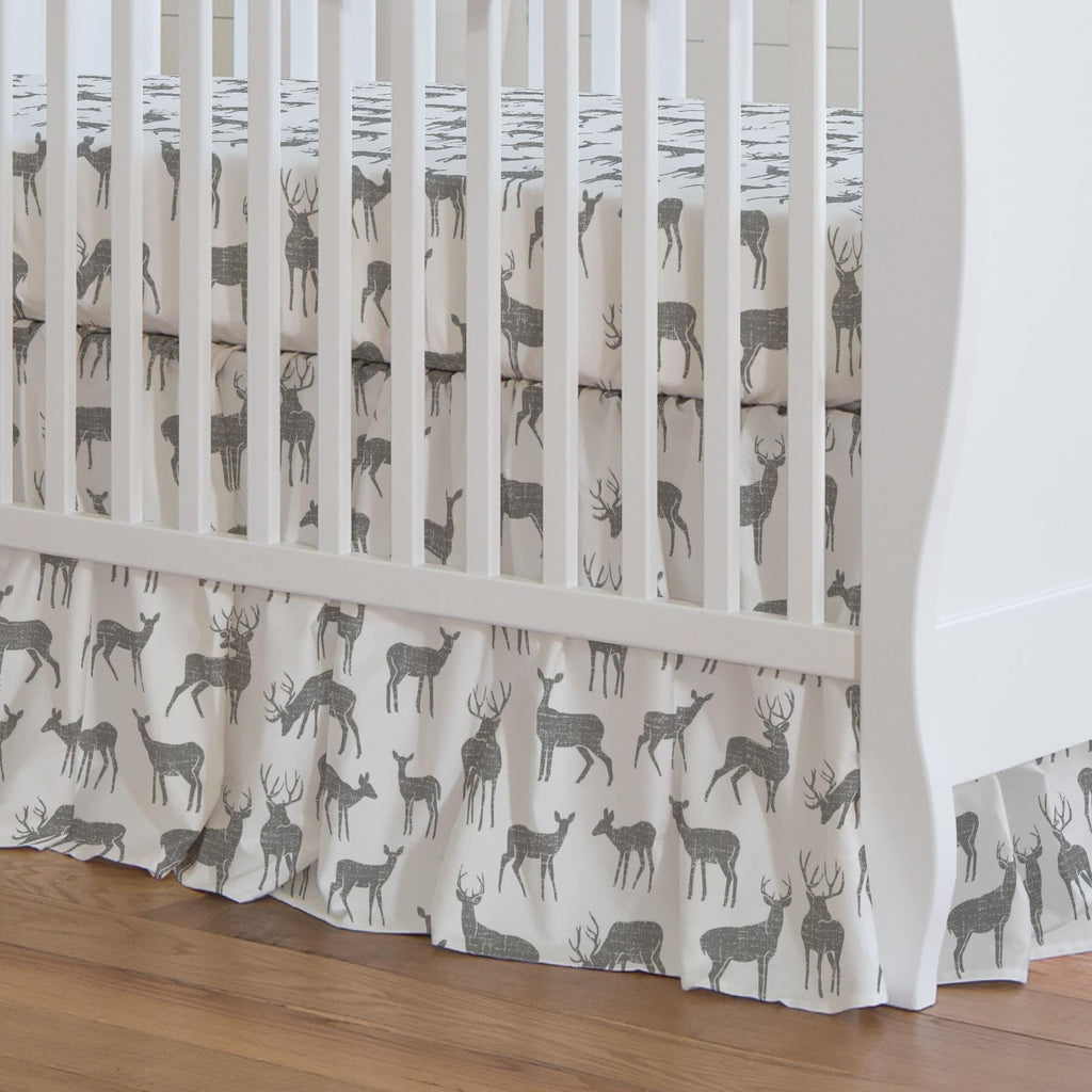 Product image for Cloud Gray Deer Crib Skirt Gathered