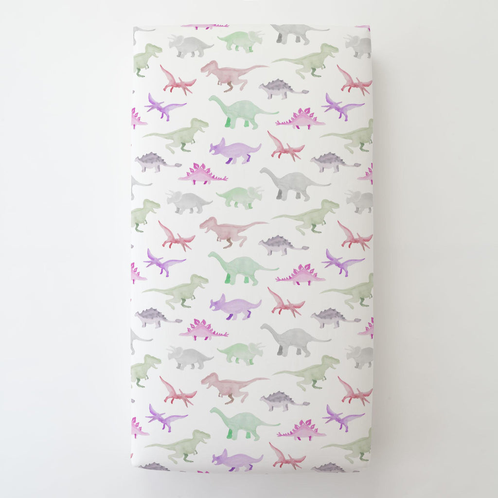 Product image for Pink Watercolor Dinosaurs Toddler Sheet Bottom Fitted