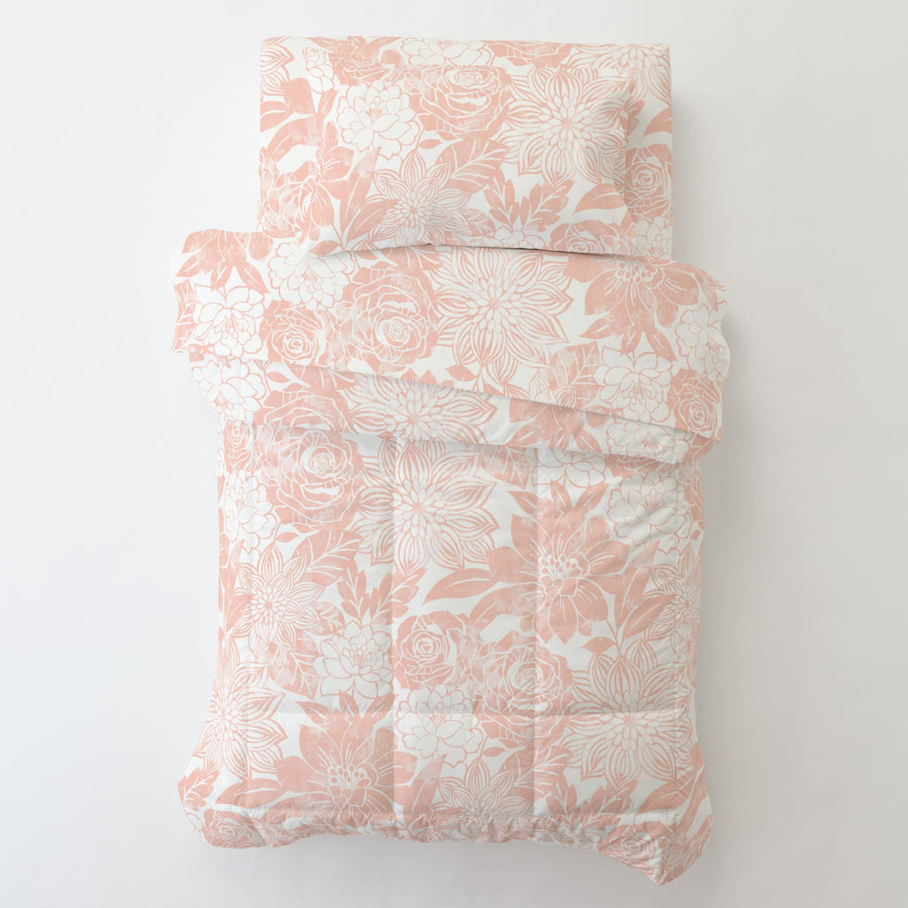 Product image for Peach Modern Blooms Toddler Comforter
