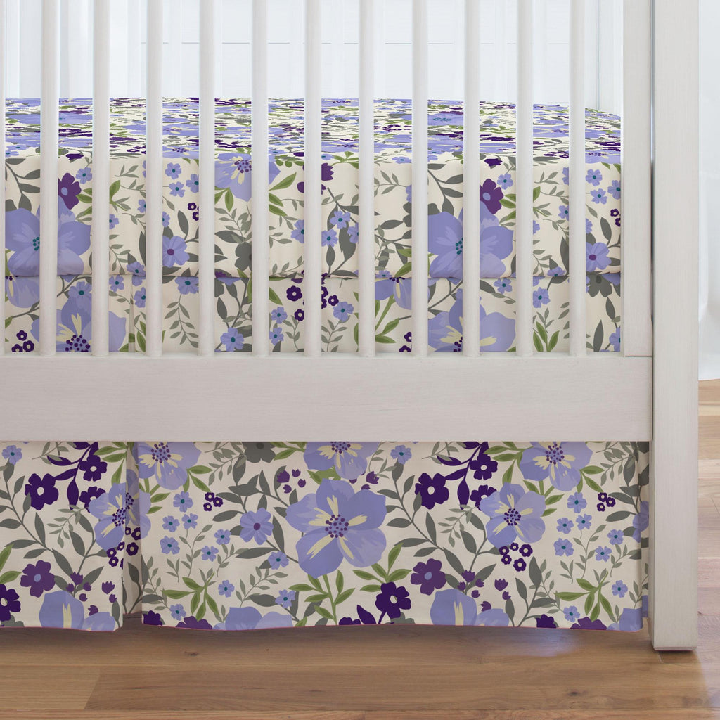 Product image for Lavender Floral Tropic Crib Skirt Single-Pleat