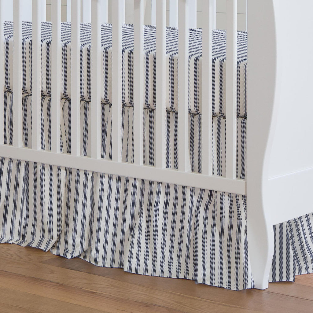 Product image for Windsor Navy Ticking Stripe Crib Skirt Gathered