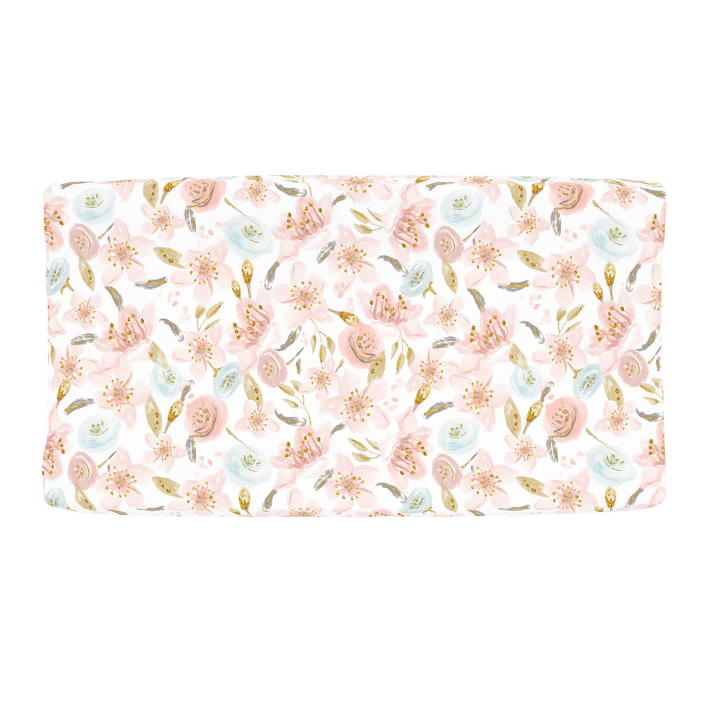 Product image for Pink Hawaiian Floral Changing Pad Cover
