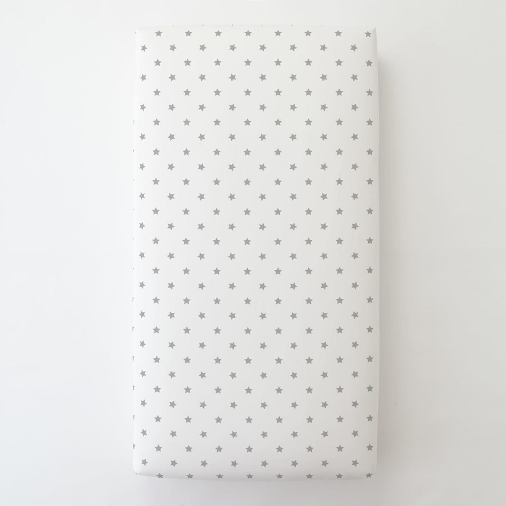 Product image for Silver Gray Stars Toddler Sheet Bottom Fitted