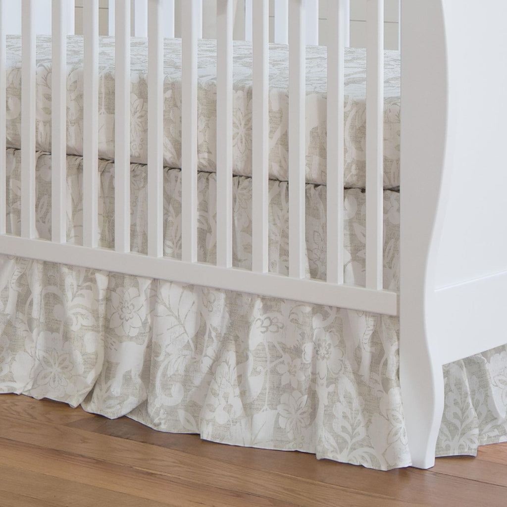 Product image for French Gray and White Jungle Crib Skirt Gathered