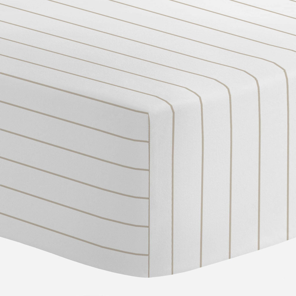 Product image for Taupe Pinstripe Mini Crib Sheet