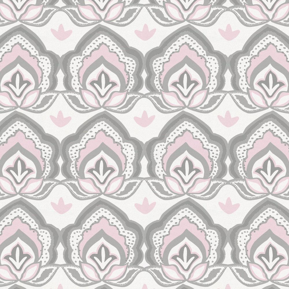Product image for Pink and Gray Modern Floral Drape Panel