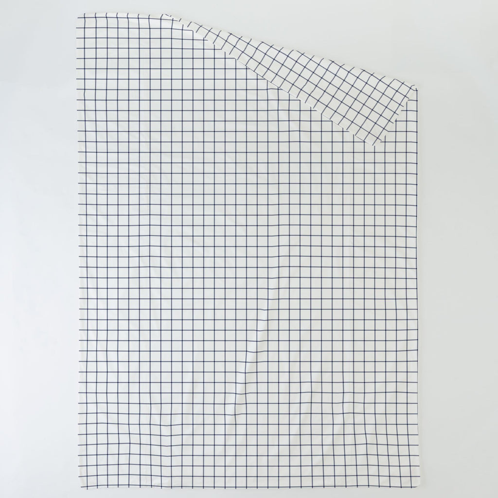 Product image for Navy Windowpane Duvet Cover