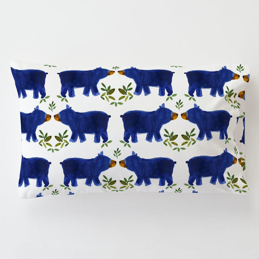 Product image for Blue Woodland Bear Toddler Pillow Case