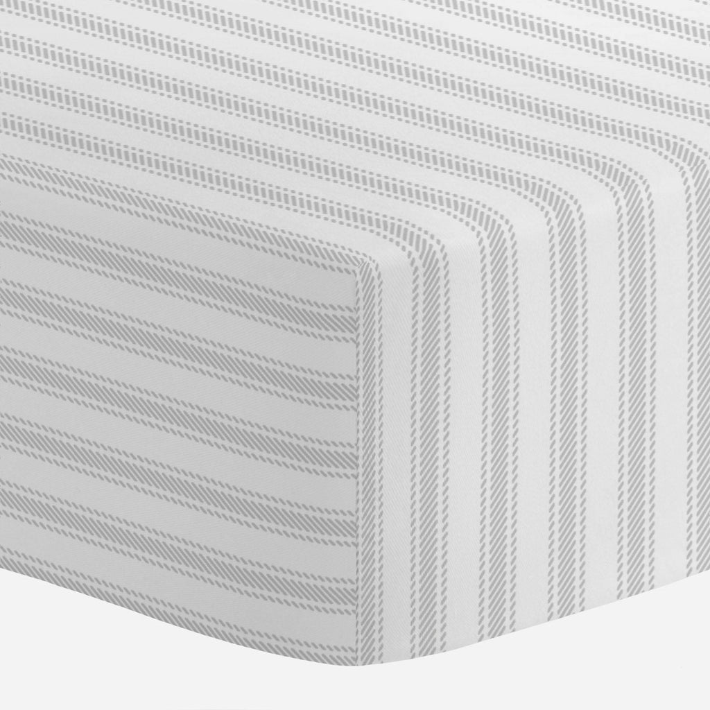 Product image for French Gray Ticking Stripe Mini Crib Sheet