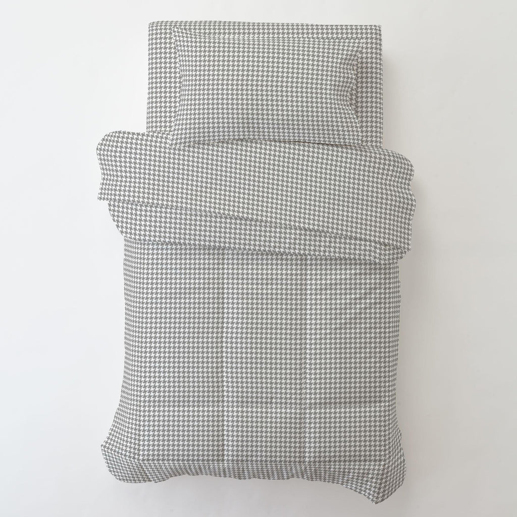 Product image for Cloud Gray and White Houndstooth Toddler Pillow Case with Pillow Insert