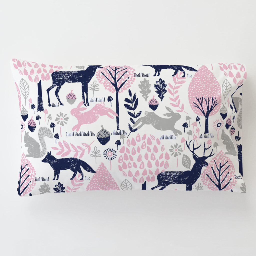 Product image for Bubblegum Pink and Navy Woodland Animals Toddler Pillow Case