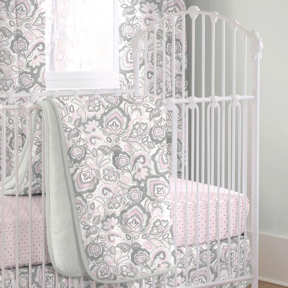 Product image for Pink and Gray Jacobean Crib Comforter with Piping