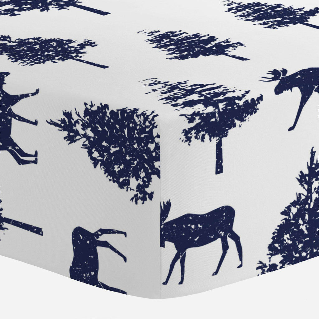 Product image for Navy Moose Mini Crib Sheet
