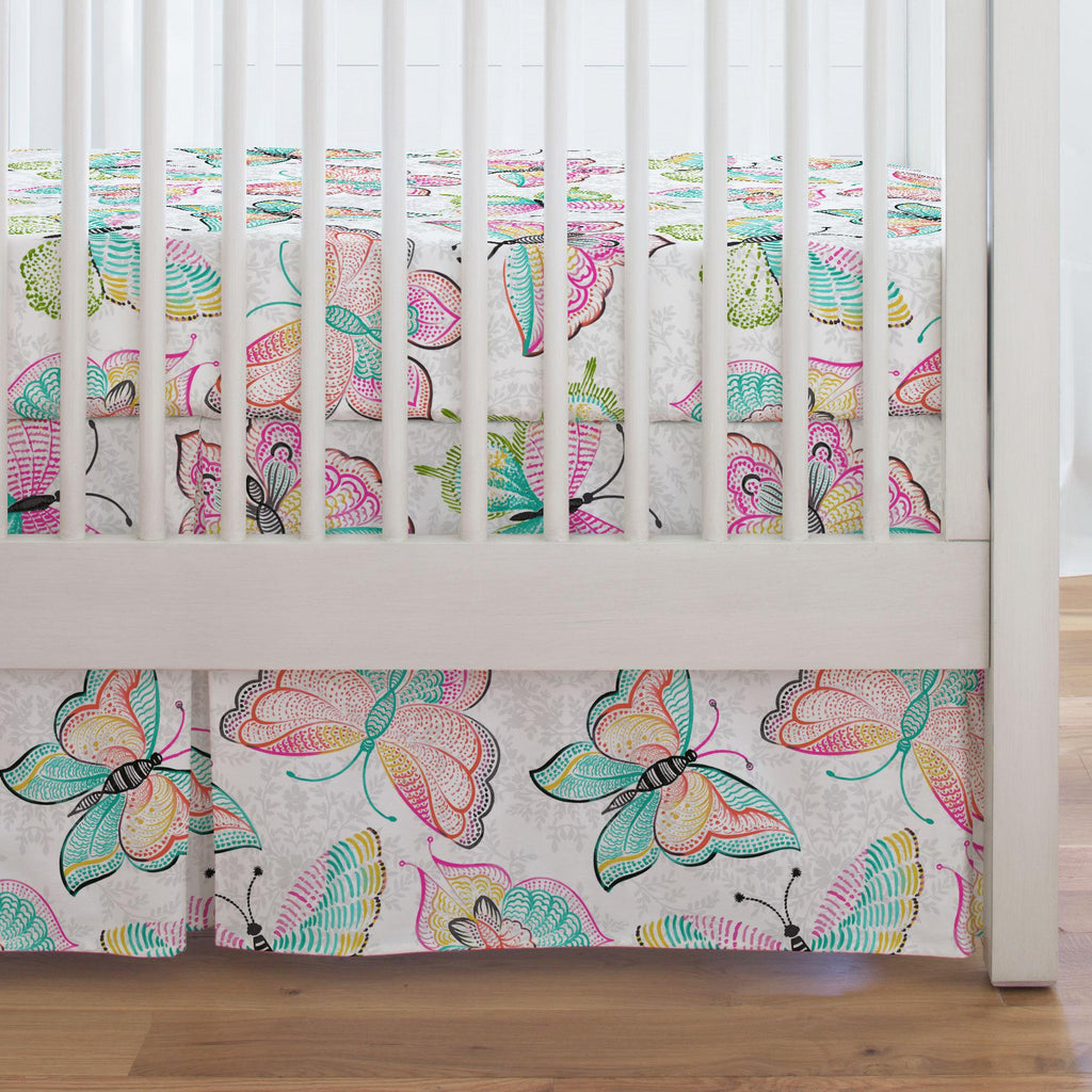 Product image for Bright Damask Butterflies Crib Skirt Single-Pleat