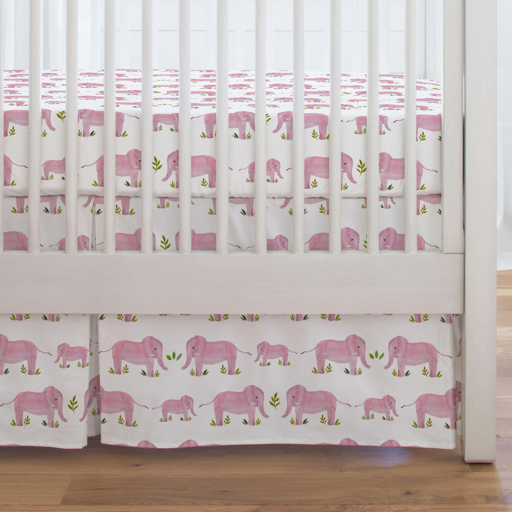 Product image for Pink Painted Elephants Crib Skirt Single-Pleat