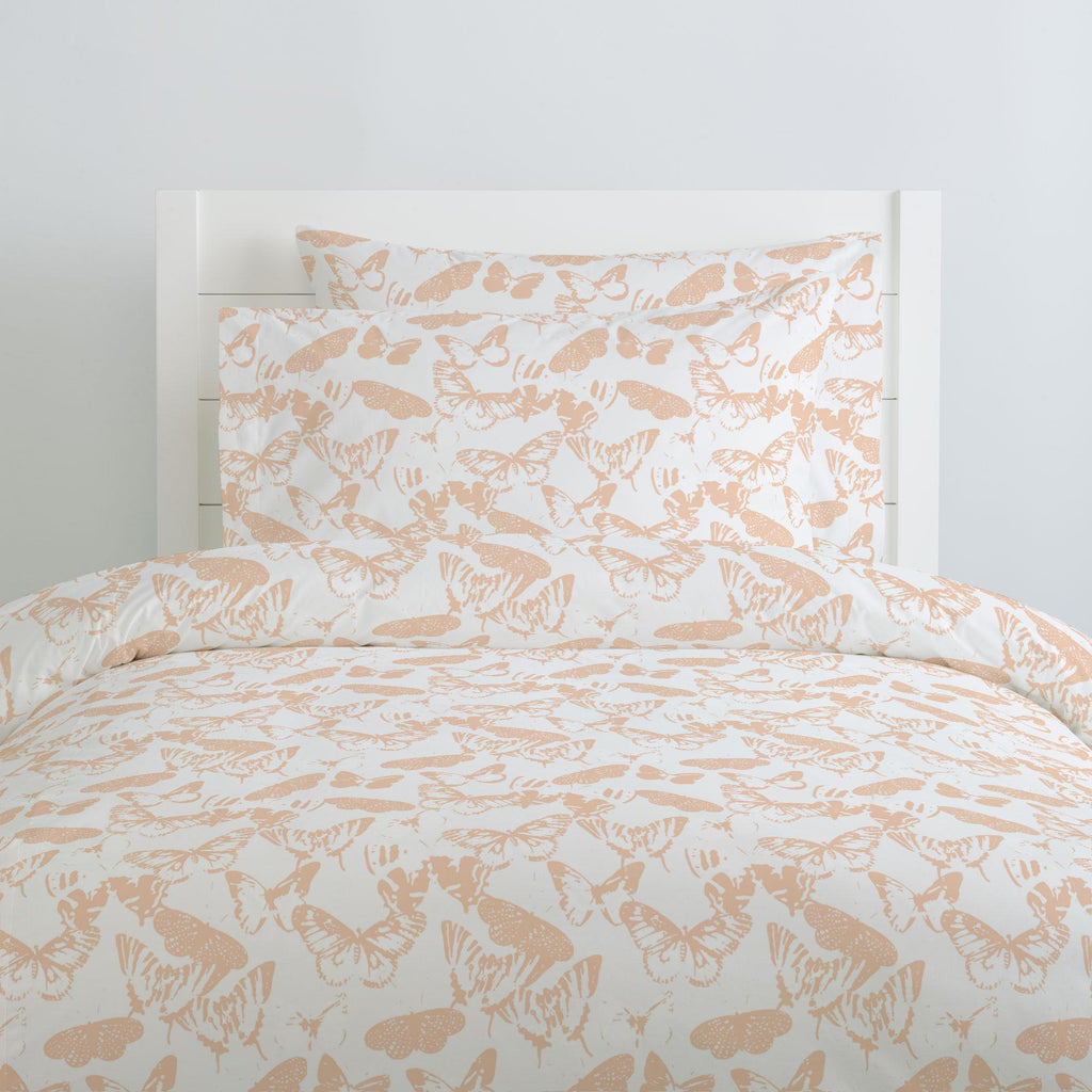 Product image for Peach Modern Butterflies Pillow Case