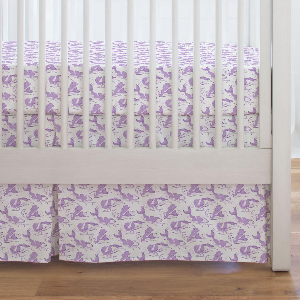 Product image for Purple Swimming Mermaids Crib Skirt Single-Pleat