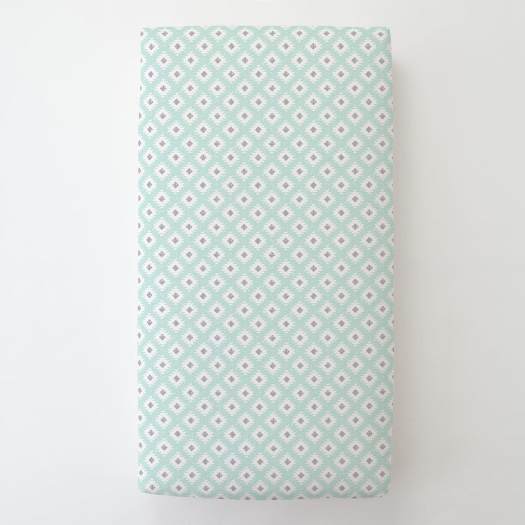 Product image for Icy Mint and Gray Aztec Toddler Sheet Bottom Fitted