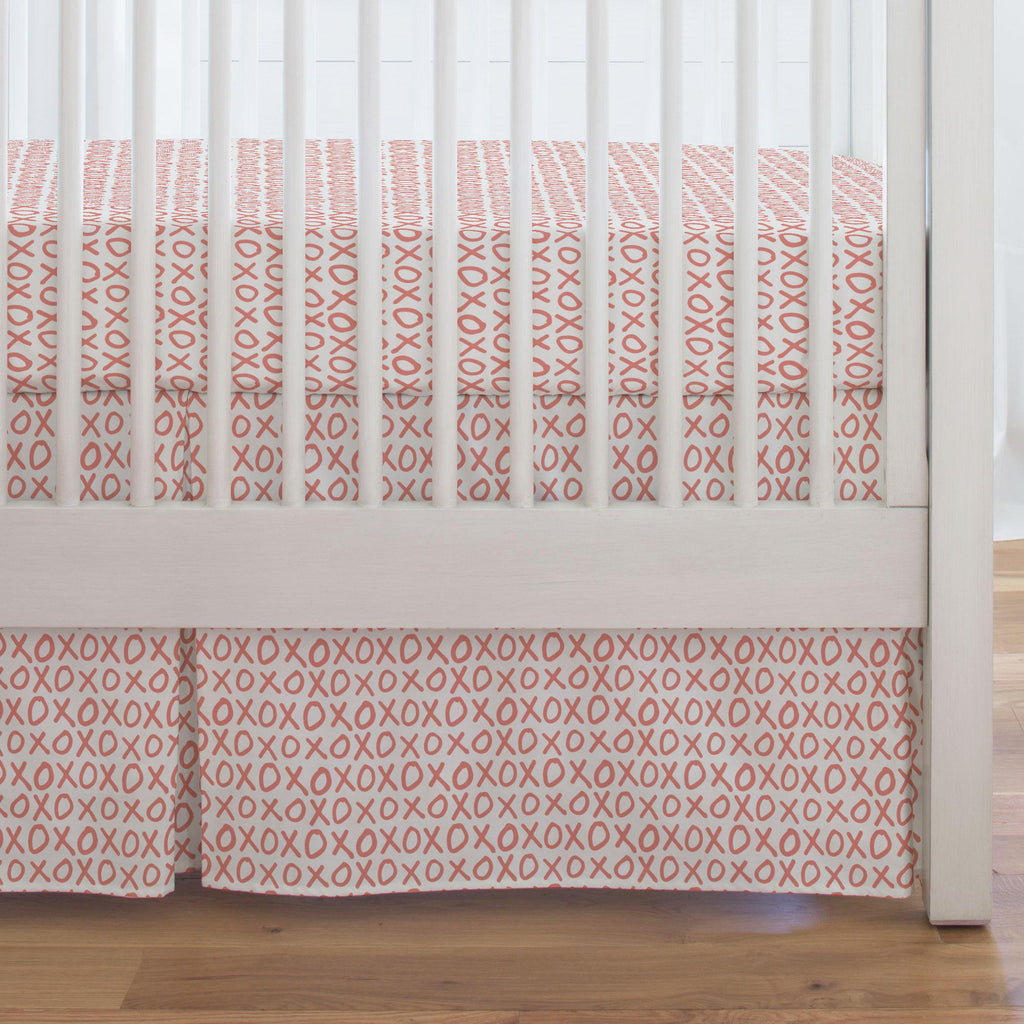 Product image for Light Coral XO Crib Skirt Single-Pleat