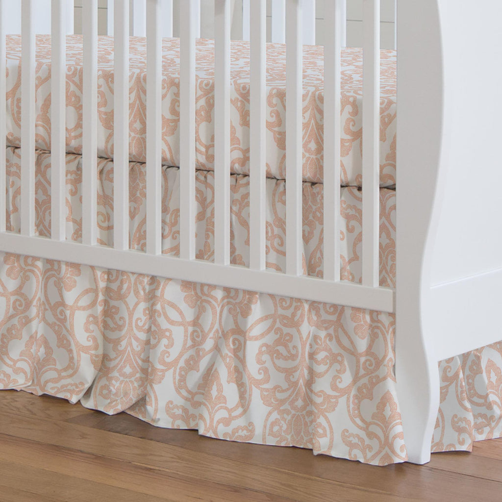 Product image for Peach Filigree Crib Skirt Gathered