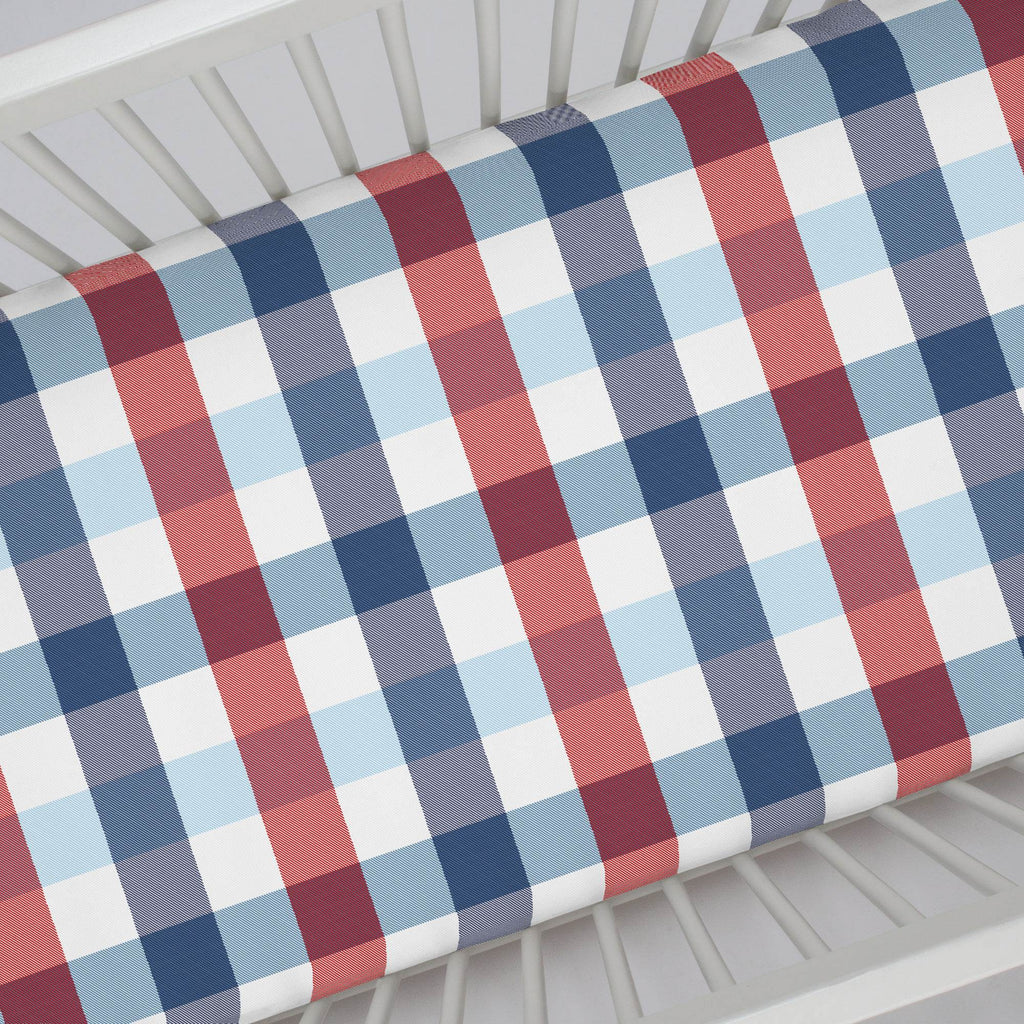 Product image for Navy and Red Buffalo Check Crib Sheet