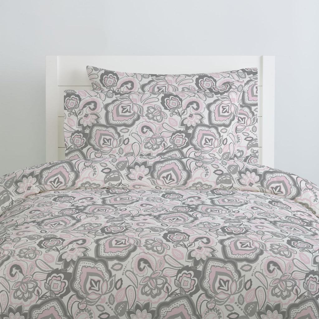 Product image for Pink and Gray Jacobean Pillow Case