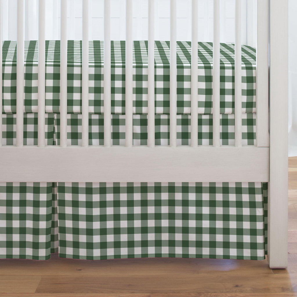 Product image for Evergreen Gingham Crib Skirt Single-Pleat