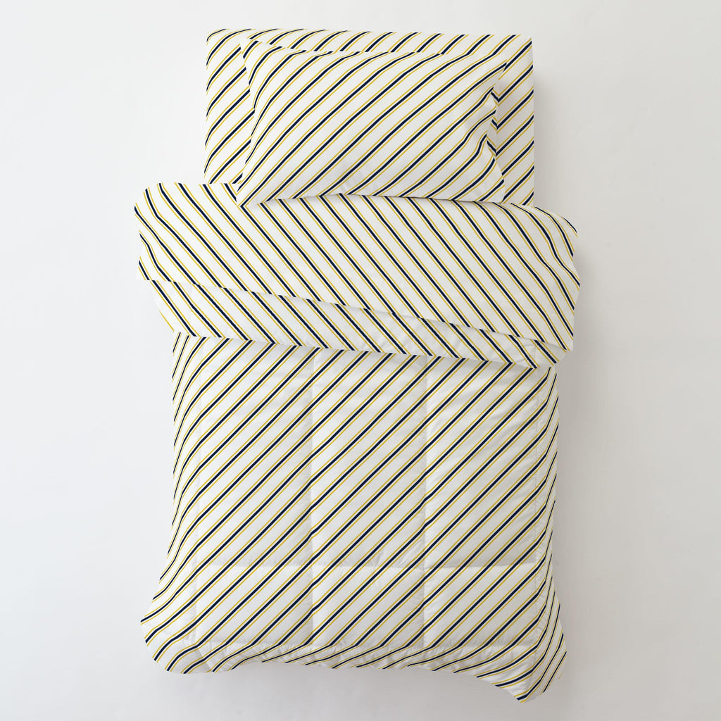 Product image for Yellow and Navy Necktie Stripe Toddler Pillow Case with Pillow Insert