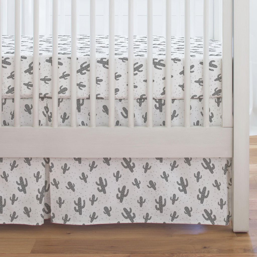 Product image for Cloud Gray Cactus Crib Skirt Single-Pleat