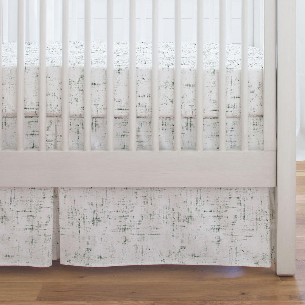 Product image for Evergreen Distressed Crib Skirt Single-Pleat